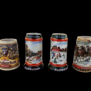 Lot of 4 vintage BUDWEISER Holiday/Collector Stein